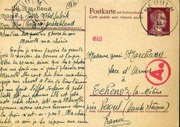 Entier Postal HITLER Français Travailleur En Allemagne 13 Juin 44 NEU-ULM Nazi Guerre Mondiale Censure - Storia Postale