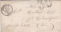 FRANCE LETTRE DE 1857 TIMBRE TAMPON TAXE DE 30 TAMPON A DATE GRENOBLE - 1849-1876: Periodo Classico