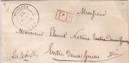 FRANCE LETTRE DE 1848 TAMPON A DATE MONTLUEL ET TAMPON ROUGE P.P - Storia Postale