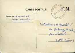 Carte De Franchise Militaire  CERNAY 28 Sept 39 DROLE DE GUERRE Pour La Région De Vesoul - Franchise Militaire (timbres)
