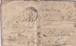 FRANCE LETTRE DE 1842 TAMPON A DATE LES ECHELLES ET TAMPON ROND B.2 - Storia Postale