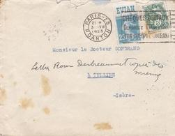 FRANCE LETTRE DE 1925 TIMBRE DE 25 C SEMEUSE AVEC PUB EVIAN ET 5 C TYPE BLANC TAMPON A DATE PARIS - Storia Postale