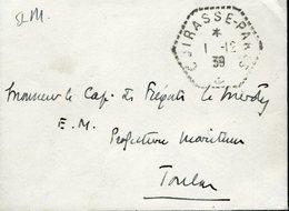 Cachet Haxagonal CUIRASSE PARIS 1/12/1939 Pour Le Capitaine De Fregate Le Merdy TOULON Franchise Militaire - Marcophilie (Lettres)