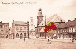"""FRAMERIES - Grand'Place, Eglise Et Perche Couverte - Avec """" Café Moderne """" Sur L'angle - Circulée En 1935 - Frameries"""