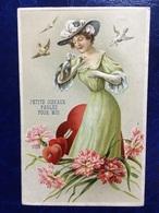 """Embossed-gaufrée--""""Dame Amoureuse Reçoit Des Petits Messages D'amour Par Courrier D'oiseau""""-(my Ref 660)-1909 - Femmes"""