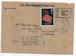 Grande Bretagne-1989-Lettre De Portsmouth Pour Toulon (France).H.M.S Victory (Majesty's Service)..timbre Seul Sur Lettre - 1952-.... (Elizabeth II)