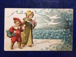 "Embossed-gaufrée--""Enfants-promenade-pigeons ""-(my Ref 664)-1911 - Scènes & Paysages"