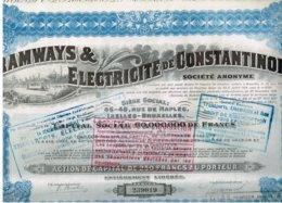 Ancienne Action - Tramways & Electricité De Constantinople - Titre De 1921- N° 207285 - Déco - Chemin De Fer & Tramway