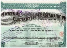 Ancienne Action - Tramways & Electricité De Constantinople - Titre De 1914 - N° 34953 - Chemin De Fer & Tramway