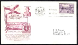 Canada Sc# 283 (cachet) FDC (c) 1949 6.21 Halifax Bicentenary - ....-1951