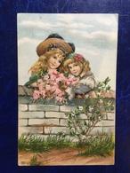 """Embossed-gaufrée--""""Fillettes Derrière Mur-bouquet De Fleurs-belle époque""""-(my Ref 672) - Scènes & Paysages"""