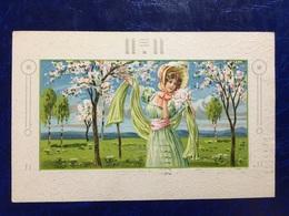 """Art Deco-Embossed-gaufrée--""""Jeune Femme Appréciant La Nature """"-(my Ref 673)-1909 - Women"""