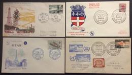 0190(1) Bordeaux 1118 Otan 1228 Unesco 1178 + Vignette Fréjus Surchargé 1229 FDC Premier Jour 1957 1959 Lot 4 Lettre - FDC