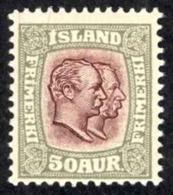 Iceland Sc# 82 MH 1907-1908 50a Gray & Violet Christian IX & Frederick VIII - 1873-1918 Danish Dependence