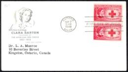 USA Sc# 967 (cachet) FDC Pair (a) (Oxford, Ma) 1948 9.7 Clara Barton - Premiers Jours (FDC)