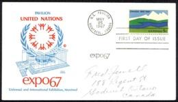 USA Sc# 1324 (Cole Cover) FDC (f) (Montreal, Canada) 1967 5.25 Canada Centennial - 1961-1970