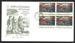 USA Sc# 1563 (Artmaster) FDC Block/4 (c) (Lexington, MA) 1975 4.19 Battles Of Lexington And Concord - Premiers Jours (FDC)