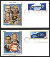 USA Sc# 1569-1570 (Colorano Silk Cachets) FDC Set/2 (a) (Kennedy Space Center, FL) 1975 7.15 Apollo Soyuz Space Mission - Premiers Jours (FDC)