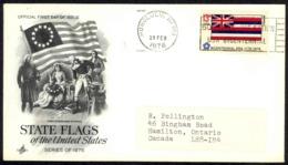 USA Sc# 1682 (ArtCraft) FDC (a) (Honolulu, HI) 1976 2.23 Hawaii Flag - 1971-1980