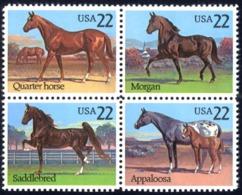 USA Sc# 2158a MNH Block/4 1985 Horses - Etats-Unis