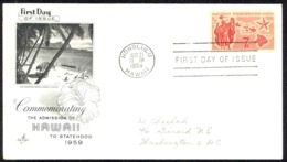 USA Sc# C55 (ArtCraft) FDC (a) (Honolulu, HI) 1959 8.21 Hawaii Statehood - Premiers Jours (FDC)