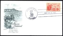 USA Sc# C55 (Artmaster) FDC (c) (Honolulu, HI) 1959 8.21 Hawaii Statehood - Premiers Jours (FDC)