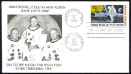 USA Sc# C76 (cachet) FDC (i) (Washington, DC) 1969 9.9 10c Moon Landing - Premiers Jours (FDC)