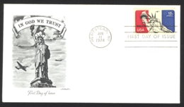 USA Sc# C87 (Artmaster) FDC Single (a) (Hempstead, NY) 1974 1.11 Statue Of Liberty - 1971-1980