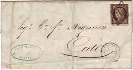 20 C NOIR CERES N° 3 Obl Grille Sur Lettre De BASTIA Corse 19 Avril 1850 Pour Corte Texte En Italien - Marcophilie (Lettres)