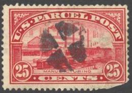 USA Sc# Q9 Cull (a) 1913 25c Carmine Rose Manufacturing - Oblitérés