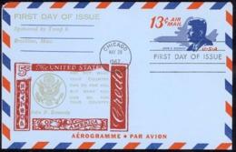 USA Sc# UC39 (cachet) FDC Aerogramme (d) (Chicago, IL) 1967 5.29 13c John F. Kennedy - Premiers Jours (FDC)