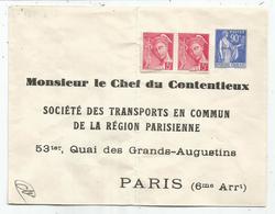 ENTIER 90C BLEU PAIX PLI CENTRAL ENVELOPPE REPIQUAGE CHEF CONTENTIEUX TRANSPORT EN COMMUN PARIS 6E - Biglietto Postale