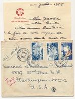 FRANCE - Enveloppe Et En-tête CGT French Line S.S Ile De France - Affr Composé 1956 Pour USA - Puce 4 - Covers & Documents