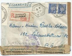 PETAIN 4FR PAIRE LETTRE REC C. MARSEILLE ST FERREOL 1943 POUR SUISSE CENSURE SCHWEIZ + NAZI + CONTROLE DOUANE - 1941-42 Pétain
