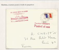 FM DRAPEAU LETTRE PAQUEBOT TRINITAD + POSTED AT SEA + PAQUEBOT FRANCE - Franchigia Militare (francobolli)