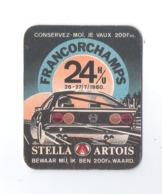 Bierviltje - Sous-bock - Bierdeckel - STELLA ARTOIS - 24  H/U FRANCORCHAMPS - 26-27/7/1980 - WAARDE 200 FR(B 829) - Sous-bocks