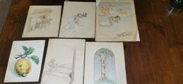 Antiche Cartoline Ritraenti Angeli Originali A Pastello - Angeli