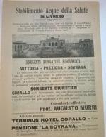 STABILIMENTO ACQUE DELLA SALUTE IN LIVORNO 1911 PUBBLICITA'  RITAGLIATA DA GIORNALE (58) - Immagine Tagliata