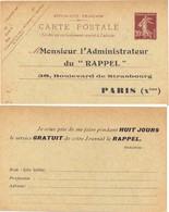ENTIER POSTAL CARTE REPIQUAGE SEMEUSE 20c LILAS-BRUN -  Votre Journal Le RAPPEL – Avec Date 238 - Postal Stamped Stationery