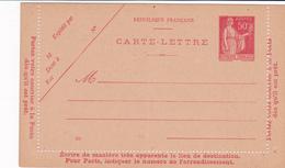 Carte Lettre Paix 50 C Rouge B1 Neuve - Biglietto Postale