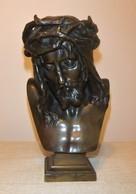 CABEZA DE CRISTO CORONADO DE ESPINAS De EUGÈNE MARIOTON (1854-1933) BRONCE - Bronces