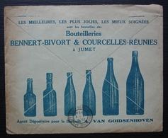 Belgique 1928 Alex Van Goidsenhoven, Bruxelles, Enveloppe Avec Pub Pour Bouteilles Bennert Bivort Courcelles à Jumet - Belgique