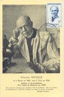 CM CARTE MAXIMUM  CHARLES NICOLLE 25 JANV. 1958 ROUEN - 1950-59
