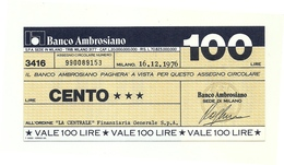 """1976 - Italia - Banco Ambrosiano - """"La Centrale"""" Finanziaria Generale S.p.A. - [10] Assegni E Miniassegni"""