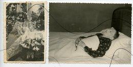 4 PHOTOS. Post-Mortem. Yne Femme Dans Sont Lit De Mort. Décès. Croix Religieuse - Anonymous Persons