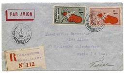 Madagascar Lettre Avion Recommandée Tananarive 1936 Registered Airmail Cover - Madagascar (1889-1960)