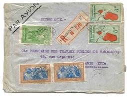 Madagascar Lettre Recommandée Avion Fianarantsoa 1938 Registered Airmail Cover - Madagascar (1889-1960)