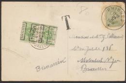 """Taxe - N°137 Sur CP Vue Obl Simple Cercle """"Rhisnes"""" (1920) Vers Bruxelles + TX12A En Paire Préo """"Bruxelles 1919 Brussel"""" - Covers"""