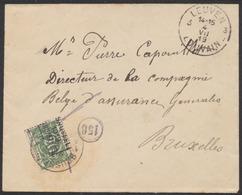 """Taxe - Lettre Non Affranchie Obl SC """"Leuven / Louvain"""" (1919) Vers Bruxelles. Arrivée TX14A Préo """"Brussel 19 Bruxelles"""" - Lettres"""