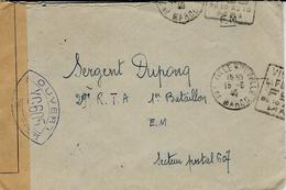 1940- Enveloppe De FES ( Maroc ) En F M Avec Censure Y C 605 Pour Le S P 607 - Marcofilia (sobres)